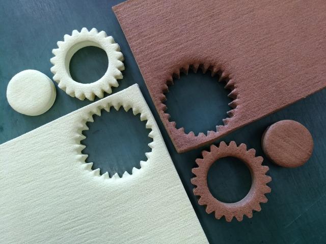 アラミド繊維,アラミド&バサルト3D単一素材平歯車形状20mm裁断物