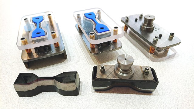 奥左側:アラミド.炭素繊維など高機能繊維混入されたゴム打抜き可能 奥中央:硬度94-98ゴム打抜き可能 奥右側:6×38、3個抜き